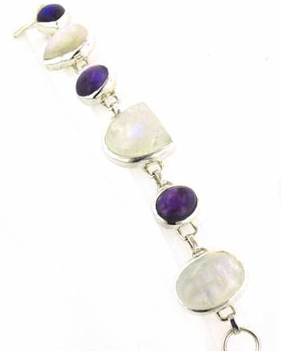 Rainbow Moonstone and Amethyst Bracelet Saffron