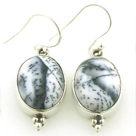 Dendritic Agate Oval Drop Earrings Simone