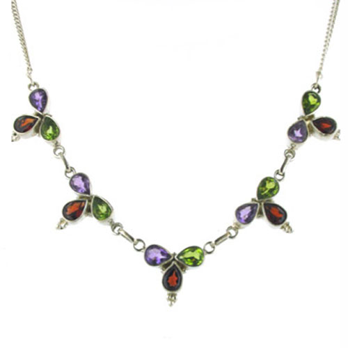 Amethyst, Garnet and Peridot Necklace Carla