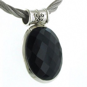 Faceted Black Onyx Pendant Ashley