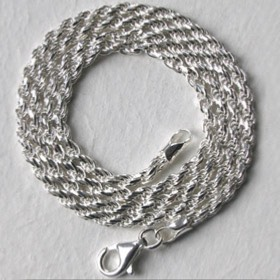 Sterling Silver Diamond Cut Rope Chain - 2.3mm