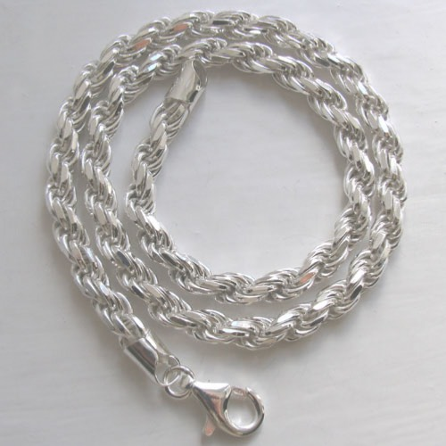 Sterling Silver Diamond Cut Rope Chain, Width 6mm