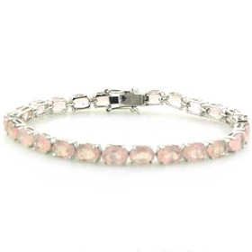Rose Quartz and Sterling Silver Bracelet Poppy