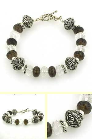Smokey Quartz and Sterling Silver Bead Bracelet Antoine