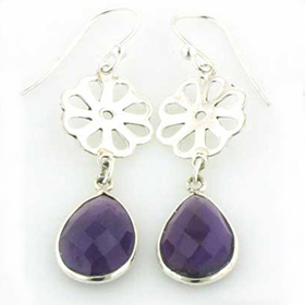 Amethyst Droplet Earrings Evie