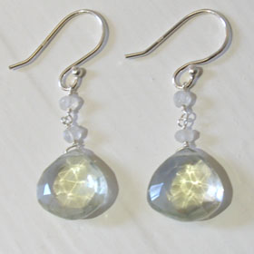 Green Amethyst Droplet Earrings Irene