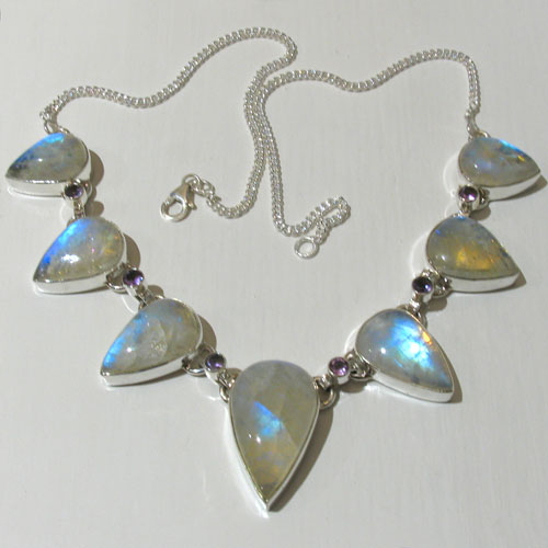 Rainbow Moonstone Necklace Clarice