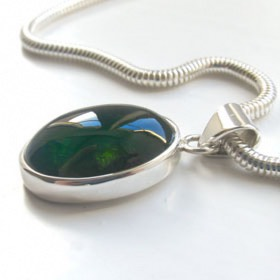 Green Tourmaline Pendant Marni in Sterling Silver