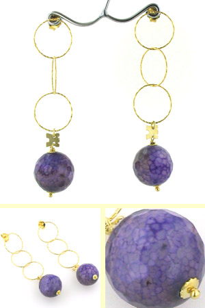 Black and Violet Agate Earrings April