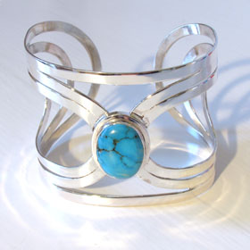 Turquoise Silver Cuff Alexandra