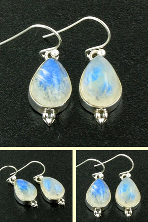 Rainbow Moonstone and Sterling Silver Earrings Adelle