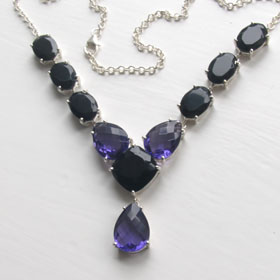 Black Onyx & Amethyst Necklace Ruth