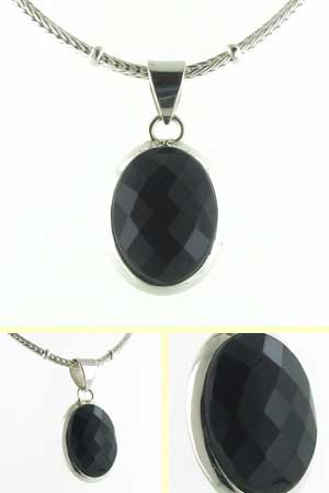 Faceted Black Onyx Pendant Candy