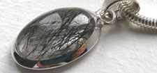 Black Rutilated Quartz Pendants in Sterling Silver