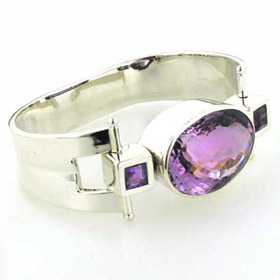 Sterling Silver Cuff Bracelet Giselle With Large Amethyst