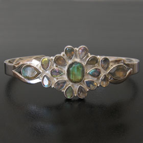 Labradorite Bangle in Sterling Silver Carmen