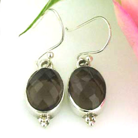 Smokey Quartz and Sterling Silver Earrings Bonnie