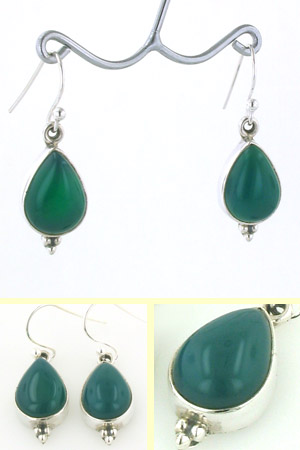 Green Onyx Tear Drop Earrings Adelle