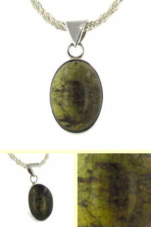 27 Carat Olive Tourmaline Pendant Lucinda in Sterling Silver
