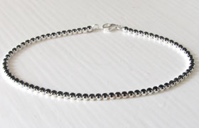 Black C Z and Sterling Silver Tennis Bracelet