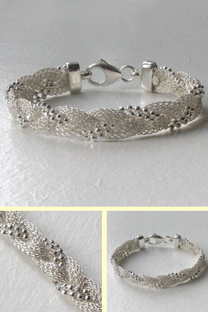 Sterling Silver Plaited Mesh and Ball Bracelet
