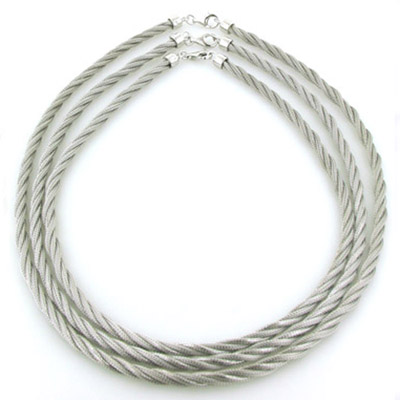 Sterling Silver Twisted Mesh Rope Chain - 7mm