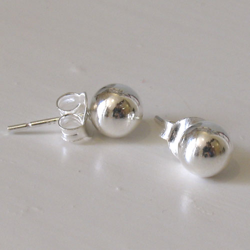 Sterling Silver Ball Studs, Diameter 8mm