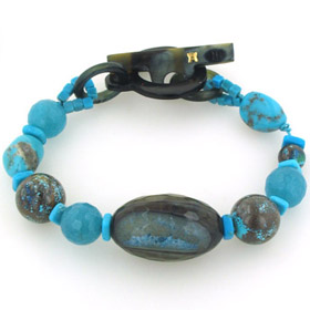 Turquoise, Agate, Apatite and Chrysocolla Bracelet Joanne