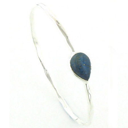 Lapis Lazuli and Sterling Silver Bangle Celia
