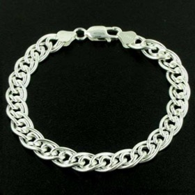 Sterling Silver 9mm Double Link Bracelet