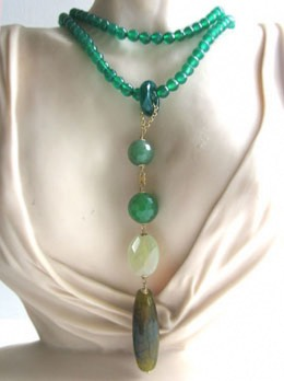 Green Agate, Aventurine and Prehenite Necklace Zinnia