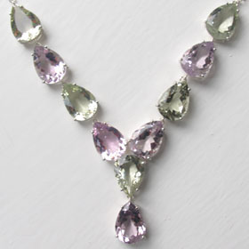 Green Amethyst & Amethyst Necklace Melody