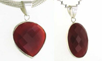 Red Onyx and Sterling Silver Pendants