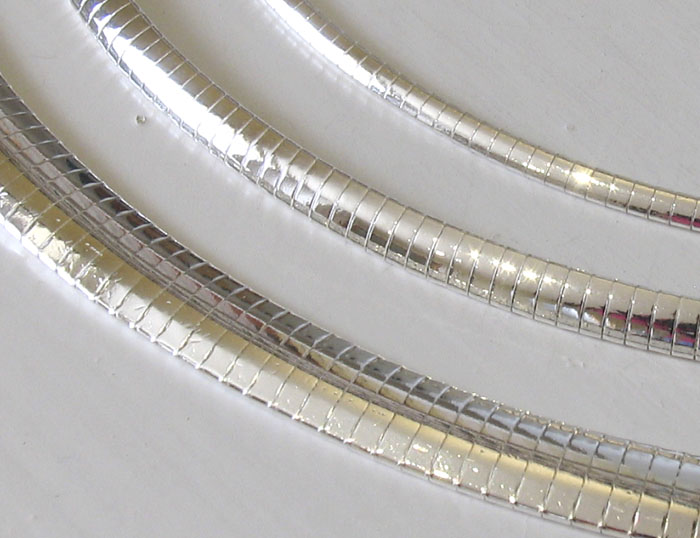 Sterling Silver Omega Chain, Width 8mm