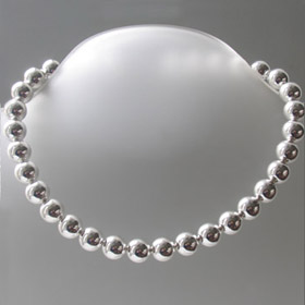 large ball silver necklace
